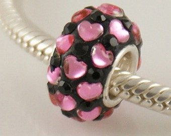 1 Bead - Black Pink Hearts Stellux Rhinestone Sterling Silver Core .925 European Bead Charm ZS0600 LC0072