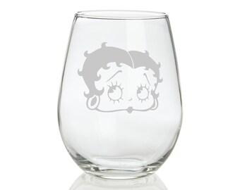 Betty Boop Sandblasted Stemless Wine Glass
