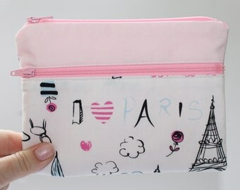 Large purse, travel document holder, passport holder, change purse, make up purse, cosmetics purse,  I love Paris