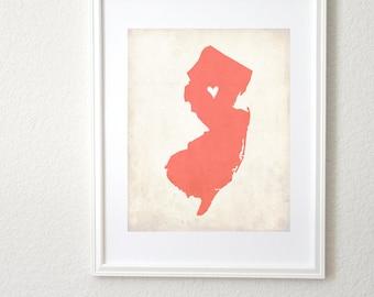 New Jersey Love State Map Customizable Art 8x10 Print.