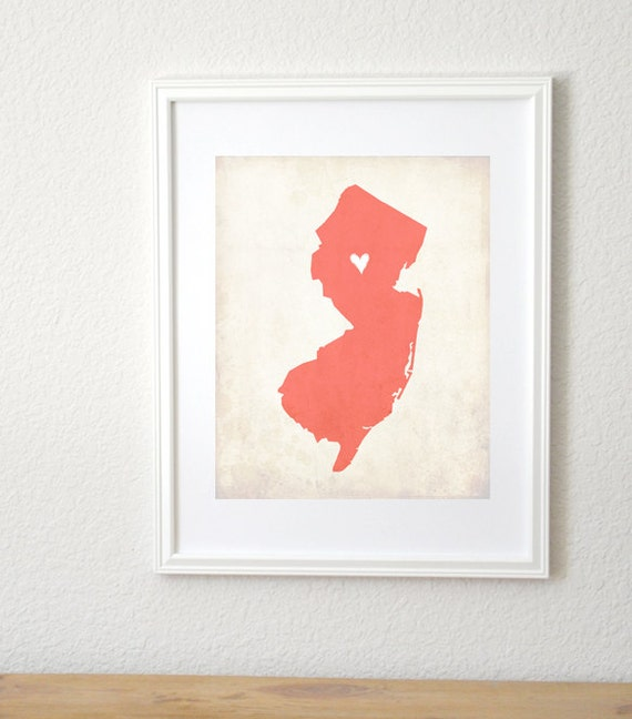 New Jersey Rustic State Map. Personalized New Jersey Map. Wedding Map. Wedding Gift. Honeymoon Gift. Housewarming Gift. Art Print 8x10.