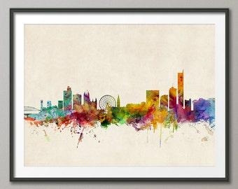 Manchester Skyline, Manchester England Cityscape Art Print (252)
