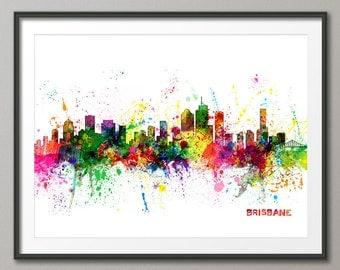 Brisbane Skyline, Brisbane Australia Cityscape Art Print (1052)