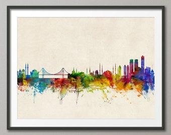Istanbul Skyline, Istanbul Turkey Cityscape Art Print (1063)