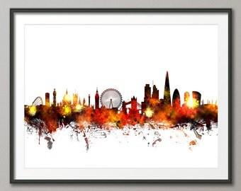 London Skyline, London Cityscape England, Art Print (1067)