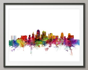 Kansas City Skyline Cityscape Art Print (1221)