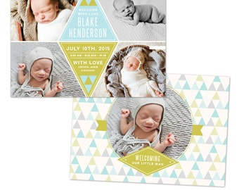 INSTANT DOWNLOAD - Photoshop Birth announcement template -  e1051