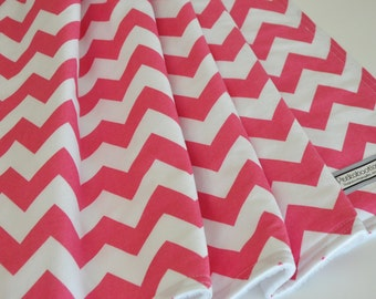 Baby Blanket CHEVRON pink and white in Riley Blake fabric