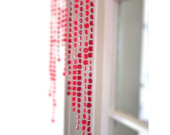 Handmade Beaded Curtain   Red and Burgundy   Gypsy Decor   12 Inches Wide