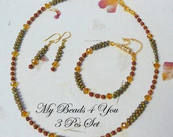 Seed Bead Jewelry,Beaded Bracelet, Beaded Necklace, Beaded Earrings, Jewelry Set, Seed Bead Bracelet