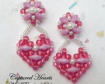 SuperDuo Earrings, Beadwork Earrings, Beadwoven Earrings, Beaded Earrings, SuperDuo,Valentine Earringsl,Earring Instructions,Heart Earrings