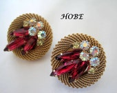 Red Rhinestone Earrings - Signed Hobe - Faceted AB Rhinestone - Gold Clips Ons