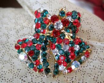 Rhinestone Pin Christmas Bell Brooch