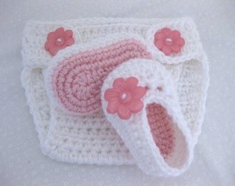 Baby Girl, Baby Shoes, Baby Diaper Cover, SET, Pink, White, Newborn, Newborn Photos, Photo Prop