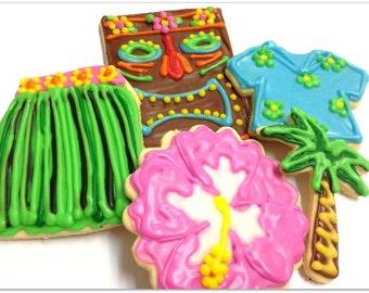 Luau Party Theme Sugar Cookies Hula Skirt Tiki Palm Tree Iced Decorated Cookies Hawaiian Sugar Me Desserterie