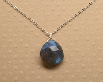 Labradorite Silver Chain Necklace, Healing Gemstone Jewelry, Blue Gray Gemstone Necklace, Faceted Labradorite Necklace