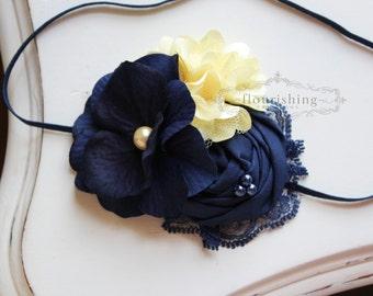 Navy and Yellow headbands, blue headbands, newborn headband, photography prop, navy headbands