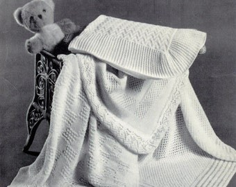 Baby Shawls - 4 different styles in 4 ply DK & Qk 8ply Yarns Sizes 36,40,41,49 - pdf of Vintage Knitting Patterns