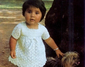 Baby Dresses 3 styles 2 to knit 1 to crochet -4 ply 0 - 18 months - Bestway 4072 - PDF of Vintage Knitting Patterns