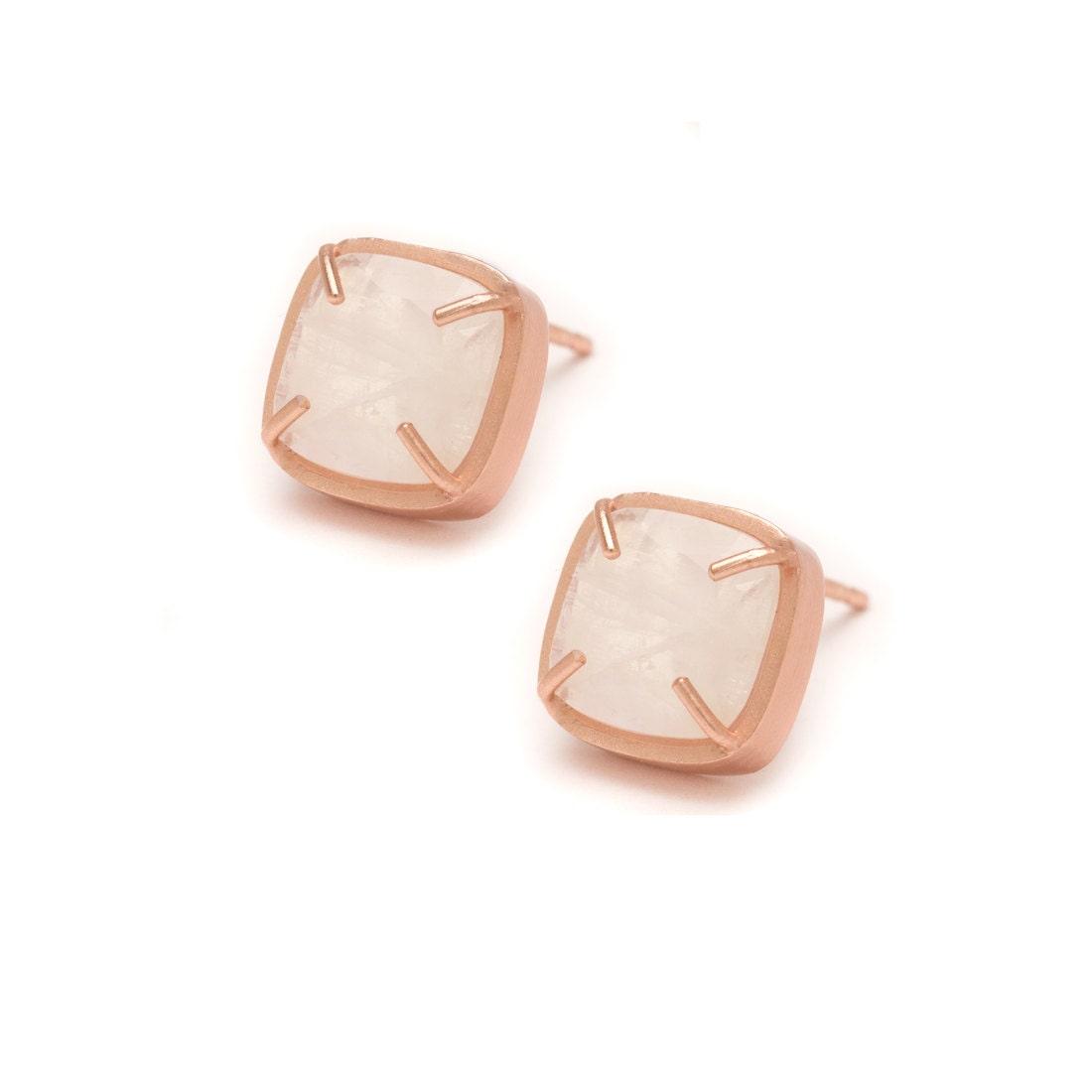 moonstone stud earrings rose gold gemstone stud earrings. Black Bedroom Furniture Sets. Home Design Ideas
