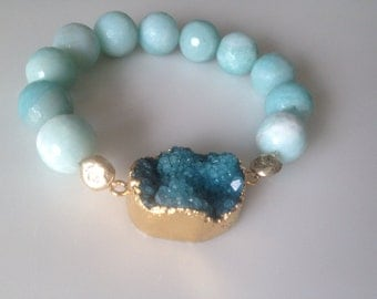 Druzy and teal jade gemstone bracelet