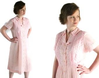50s 60s Meg Marlowe Dress, Mid Century Fashion, Mad Men, Pink Cotton, Eyelet