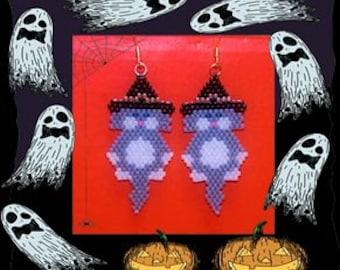 Grey Halloween Witch Kitty beaded earrings