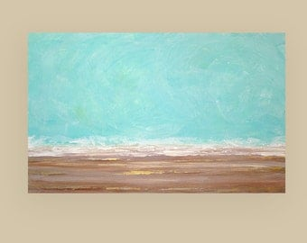 Art Abstract Painting,Acrylic Art,Fine Art Painting,Beach,Acrylic on Canvas by Ora Birenbaum, Seaside Escape 30X48X1.5""