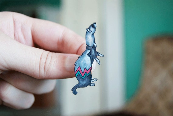 Ferret Brooch / Ferret Pin / Chevron / Zig Zag / Turquoise and Red / Pet / Shrink Plastic / Wearable Art