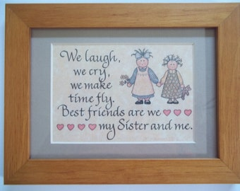 SISTER Frame Poem gift best friend 1991 Faux Flowers Vintage