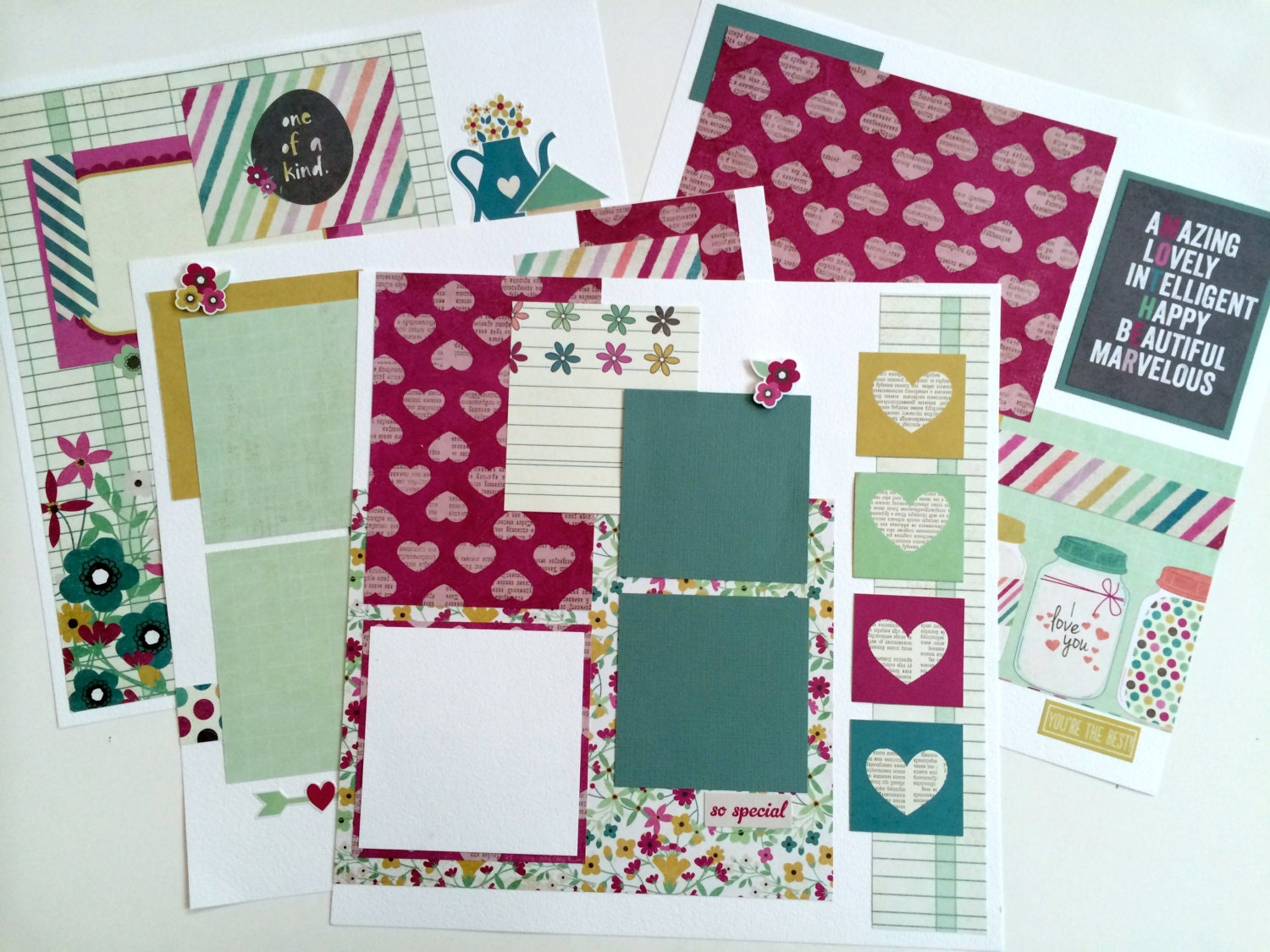 SALE Scrapbook Pages Kit Or Premade Pre-Cut With Instructions