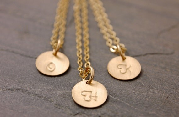 Personalized Disc Necklace, initial necklace, engraved, mom necklace, silver disc necklace, gold disc necklace, bridesmaids, N17
