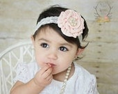 Pale Peach Satin Rosette with Pearl Rhinestone on Cream Lace Headband - Newborn Infant Baby Toddler Girls Adult Wedding Flower Girl Easter
