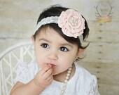 Pale Peach Rosette Satin avec perle strass sur bandeau de dentelle crème - bébé nourrisson nouveau-né tout-petit filles adultes mariage demoiselle Pâques