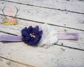 Dark Purple Baby Headband - White Lavender Pearl Rhinestones - Newborn Baby Infant- Photo Prop