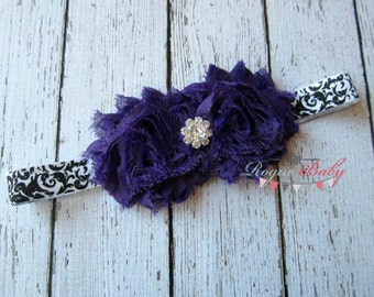 Royal Purple & Rhinestones with Black White Damask Headband - Baby - Newborn -Toddler  - Flower Girl Wedding