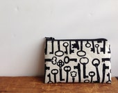 Black Skeleton Key Pouch, Small Zipper Pouch, Coin Purse,  Back to School