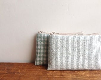 Coin Purse, Sage Green Stripes, Small Zipper Pouch, Handmade