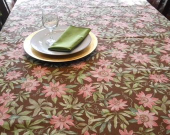 Table Linen, Thanksgiving Table Cloth, Brown/Coral-Pink/Green, 54''x70'' Rectangle Table Cover, Dining/Banquet/Serving/Holiday/Entertaining