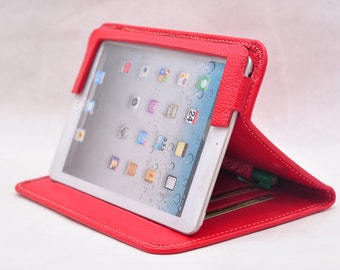 Item No: 3017 Top-level genuine leather simple briefcase and iPad case & iPad stands iPad Mini in red