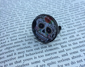 SALE Sugar Skull Deluxe Ring - Gunmetal (Adjustable)