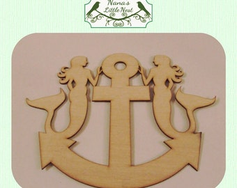 Mermaid and Anchor / Nautical  (Small) Wood Cut Out -  Laser Cut