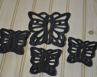 Vintage Black Metal Cast Iron Butterfly Trivets - Set of 4  Made in Taiwan