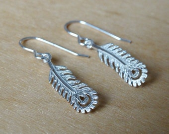 Silver Feather Earrings - Sterling Silver