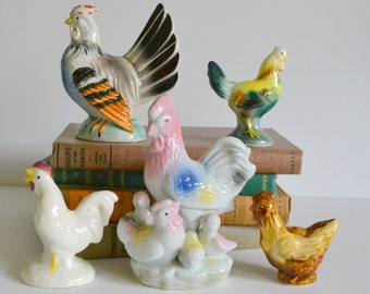 Vintage Chicken Collection Rooster Ceramic Home Decor Figurines Salt & Pepper Shakers Farm Chic Shelf Piece Display Instant Colorful Cottage
