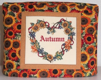 Toaster Cover - Autumn Wreath and Sunflowers, Two Slice Toaster Cover, Fall Kitchen Decor