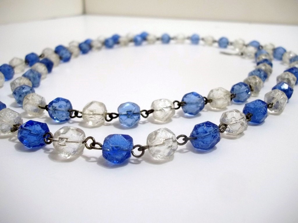 Vintage blue and clear czech glass 10 mm cut faceted beads for How to cut glass with string and fire