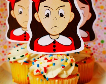 Veruca Salt  Cupcake Toppers for Willy Wonka Party