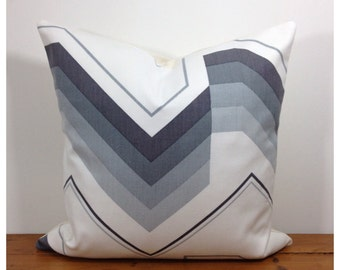 1970s Vintage Grey Fabric Cushion Cover, Retro Throw Pillow 16""