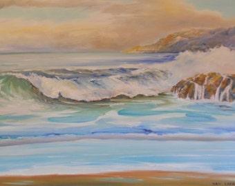 Ocean Oil Painting, Sunset on the Pacific, Oregon Coast, Beach Art, Dan Leasure